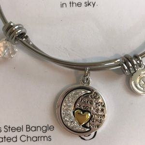 love this life Jewelry - NWT Stainless Steel Moon and Back Bangle